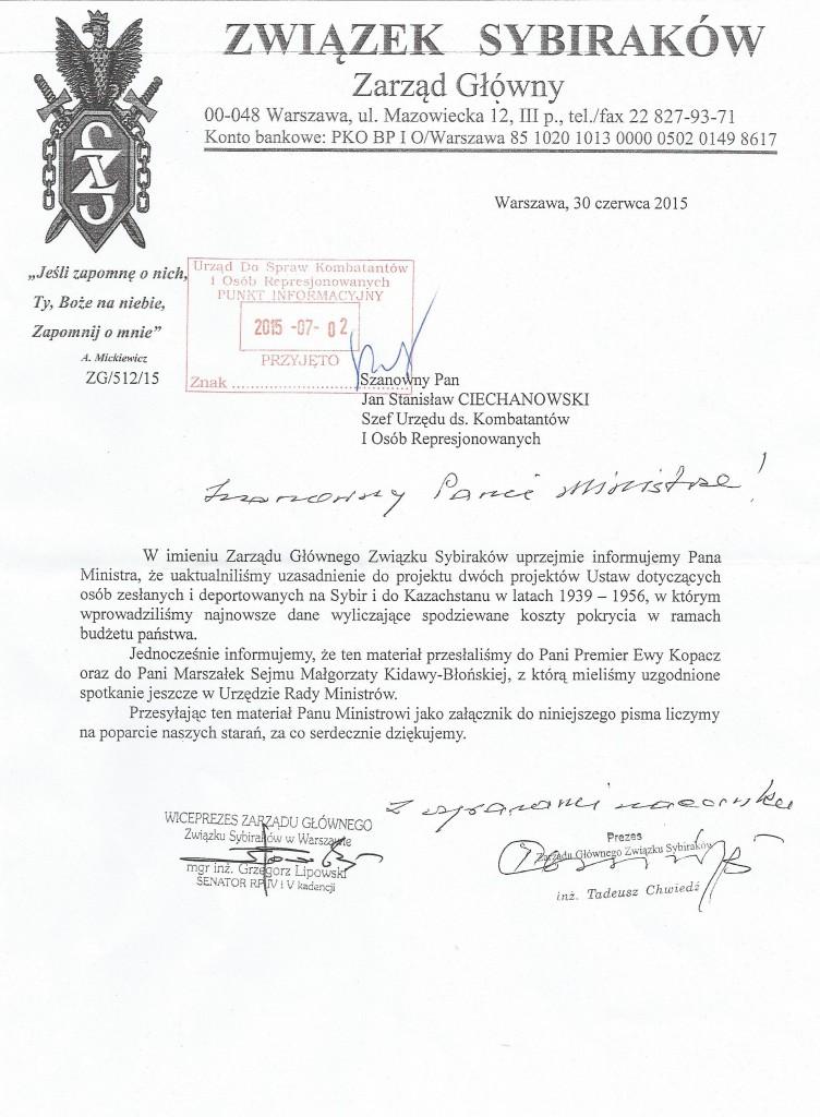 Pismo do szefa UdsKiOR