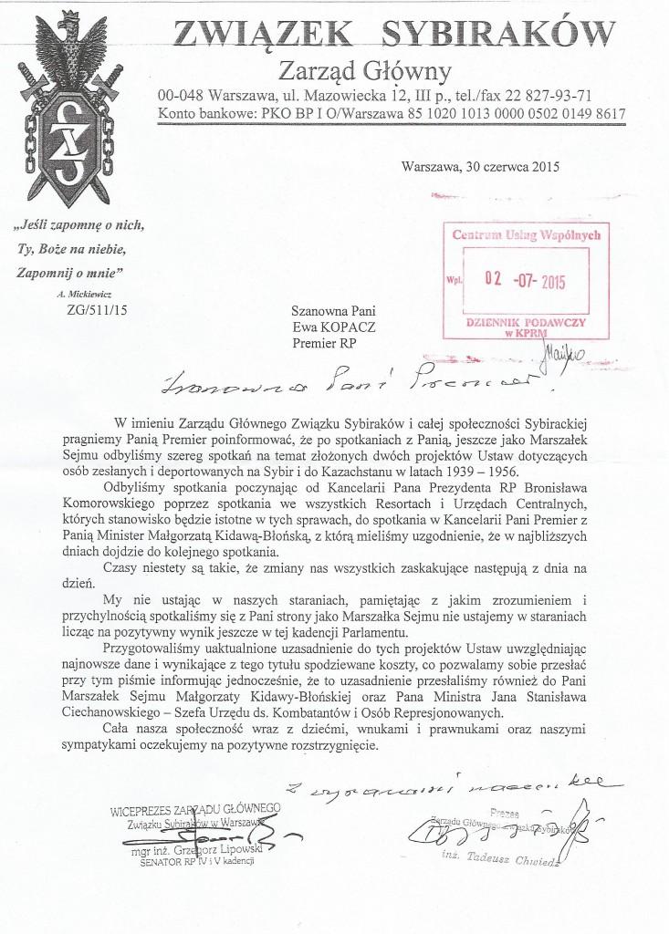 Pismo do premier Ewy Kopacz