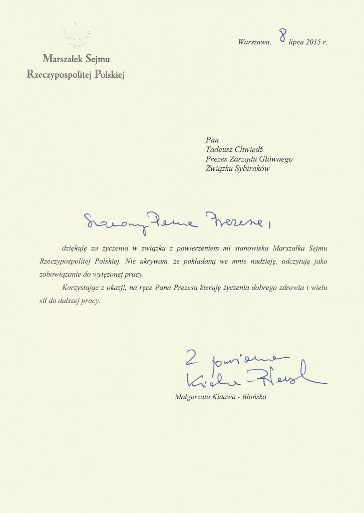 Pismo od marszałek Sejmu