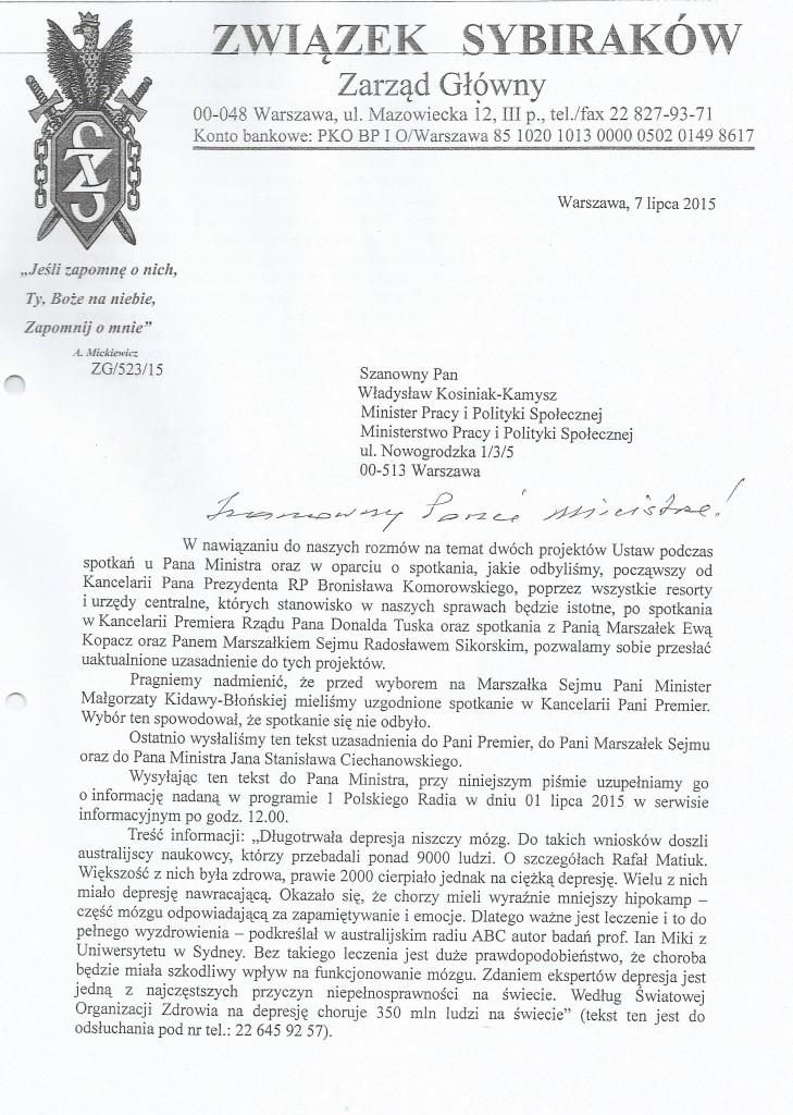 Pismo do ministra pracy