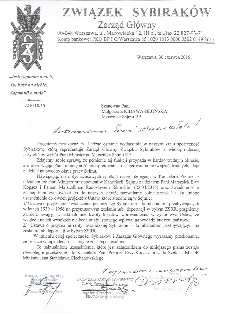 Pismo do marszałek Sejmu