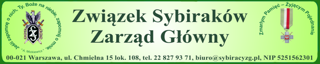 Strona internetowa Zarządu Głównego Związku Sybiraków
